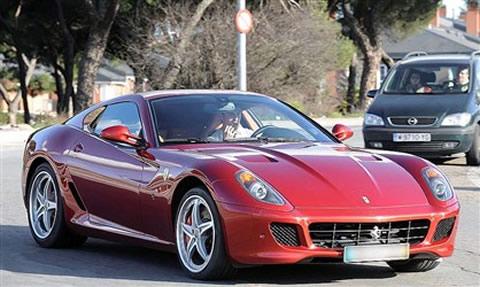 Cristiano Ronaldo driving a Ferrari 599 GTB