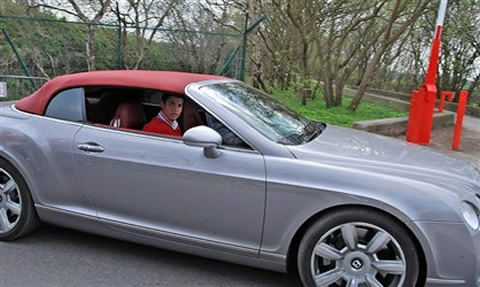 Cristiano Ronaldo and his Bentley Continental GTC