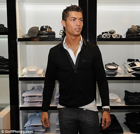 Cristiano Ronaldo fashion on CR7 store, with black shirt