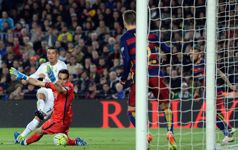 Cristiano Ronaldo beating Claudio Bravo and scoring the 2-1 against Barcelona in the Camp Nou, the match winner for Real Madrid