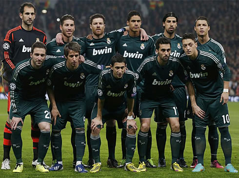 Real Madrid line-up for the match against Manchester United, in the UEFA Champions League second leg, in 2013
