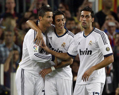 Cristiano Ronaldo celebrating goal with Angel di María and Alvaro Arbeloa, in Barcelona vs Real Madrid for La Liga 2012-2013