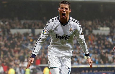 Cristiano Ronaldo going wild while celebrating Real Madrid goal against Celta de Vigo, in the Copa del Rey 2012-2013