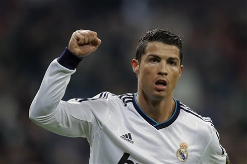 Cristiano Ronaldo raising his right hand after completing an hat-trick in Real Madrid vs Celta de Vigo, in 2013