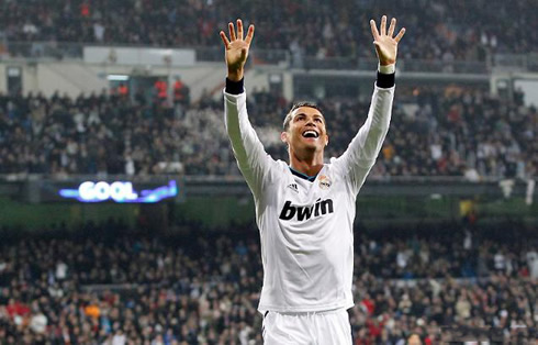 Cristiano Ronaldo fingers and claw celebration, after a goal scored in the Spanish Copa del Rey, in 2013