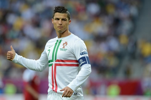 Cristiano Ronaldo appearing to be confident in the EURO 2012, in the match between Portugal and Denmark