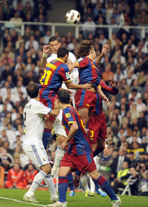 Cristiano Ronaldo jumping against Barcelona