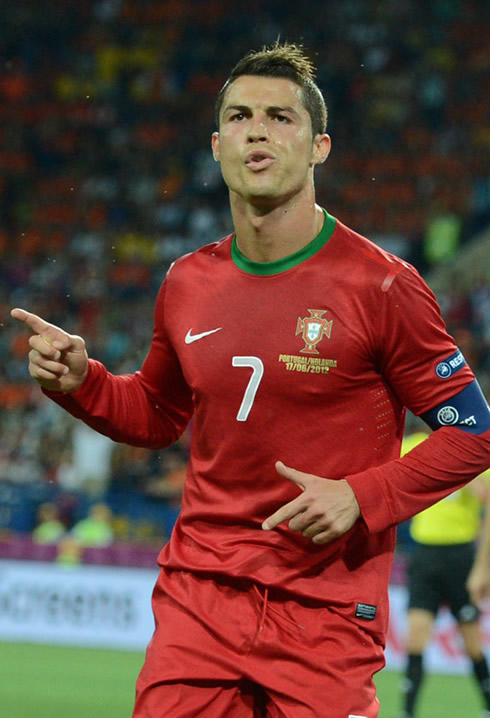 As He Celebrates Portugal First Goal Against Holland In The EURO 2012