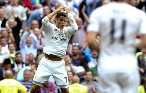Cristiano Ronaldo celebrates his goal in Real Madrid 3-0 Levante, for La Liga in 2015