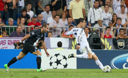 Cristiano Ronaldo right-foot deep shot against Manchester City, that awarded Real Madrid the victory in their UEFA Champions League debut in 2012-2013