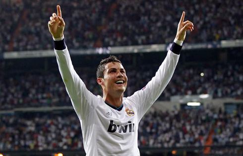 Cristiano Ronaldo smiling and looking happy in Real Madrid, as he celebrates the win against Manchester City, at the Santiago Bernabéu in 2012-2013