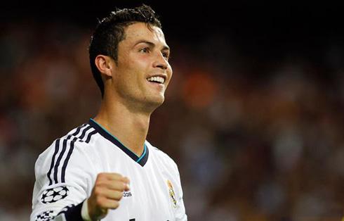 Cristiano Ronaldo happy smile in Real Madrid 3-2 Manchester City, in 2012-2013
