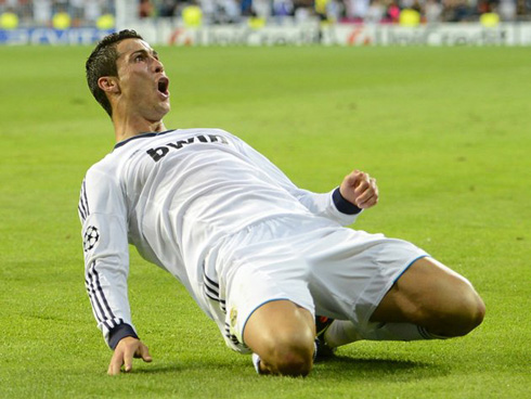 Cristiano Ronaldo sliding knee celebration after scoring the winner in Real Madrid 3-2 Manchester City, for the UEFA Champions League 2012-2013