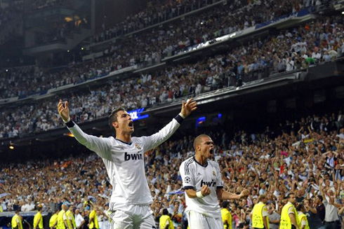 Cristiano Ronaldo and Pepe celebrating Real Madrid goal and victory against Manchester City, at the Santiago Bernabéu in the UCL 2012-2013