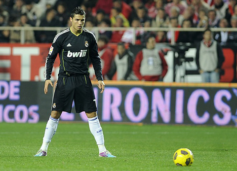 Cristiano Ronaldo preparing to take a free kick