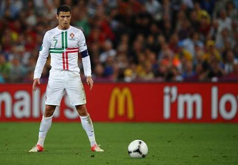 Cristiano Ronaldo Free Kick Stance Back View Portugal vs Spain (27-...