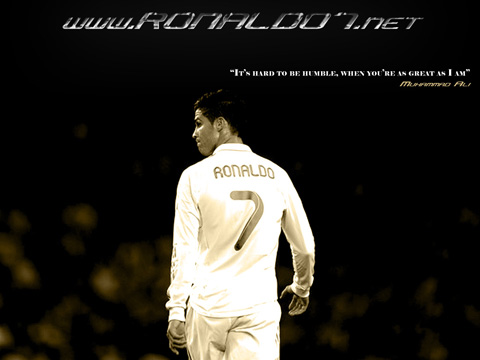 It's hard to be humble, when you're great as I am - Muhammad Ali wallpaper theme for Cristiano Ronaldo (1024x768)
