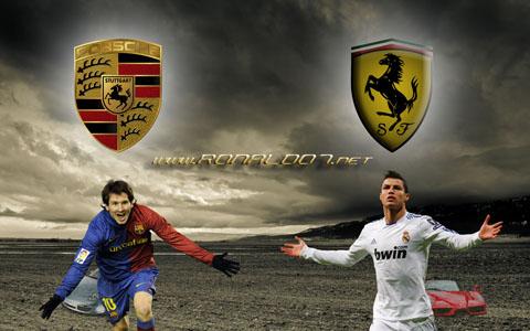 Cristiano Ronaldo vs Lionel Messi wallpaper in HD (1900x1200): Ferrari vs Porsche