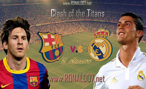 Messi vs Cristiano Ronaldo - Barcelona vs Real Madrid: Clash of the Titans wallpaper in HD (1024x768)