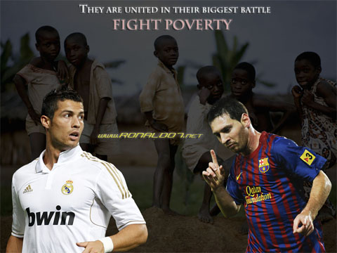 Cristiano Ronaldo and Lionel Messi united in their biggest battle: Fight Poverty. Wallpaper in HD (1024x768)