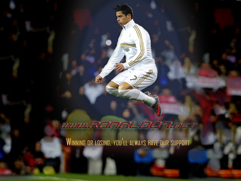 Cristiano Ronaldo: Winning or losing, you'll always have our support (FIFA Balon d'Or 2011 support message). Wallpaper in HD (1024x768)