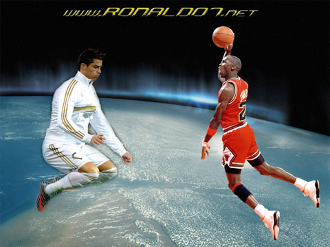 Cristiano Ronaldo and Michael Jordan wallpaper. All time greatest in football and basketball (NBA). Wallpaper in HD (1024x768)