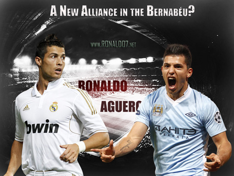 Cristiano Ronaldo Sergio Aguero wallpaper: Real Madrid and Manchester City alliance for 2012-2013. Wallpaper in HD (1024x768)