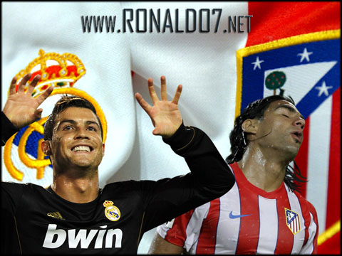 Cristiano Ronaldo vs Radamel Falcao in the Madrid derby between Real Madrid and Atletico Madrid. Wallpaper in HD (800x600)