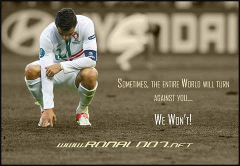 Cristiano Ronaldo - Sometimes, the entire World will turn against you, but we won't. Wallpaper in HD (2647x1830)