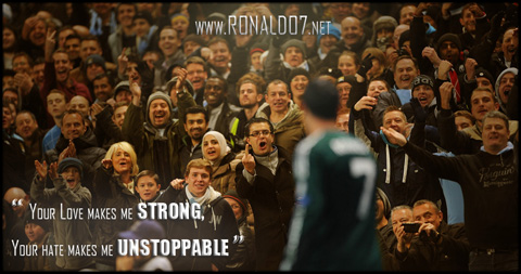 Your love makes me strong, your hate makes me unstoppable - Cristiano Ronaldo. Wallpaper in HD (1024x539)