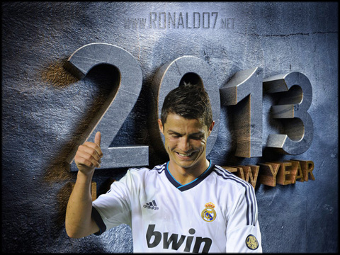 Cristiano Ronaldo - Happy new year in 2013 - New year's eve wallpaper. Wallpaper in HD (1024x768)