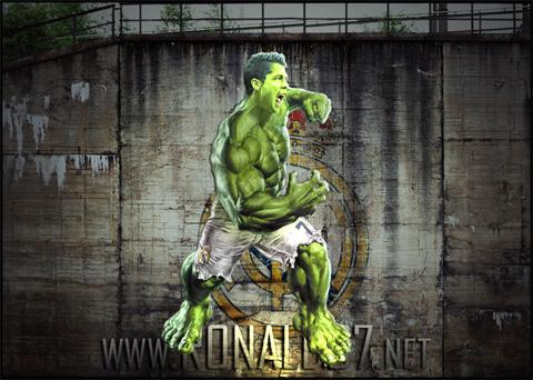 Cristiano Ronaldo transforms himself into Hulk. Wallpaper in HD (889x640)