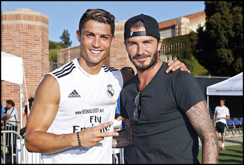 Cristiano Ronaldo and David Beckham - Two football legends. Wallpaper in HD (1138x769)