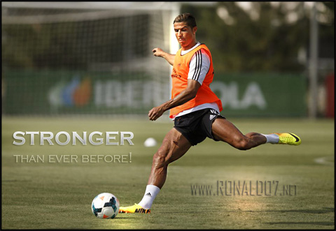 Cristiano Ronaldo training - Stronger than ever before. Wallpaper in HD (1115x768)