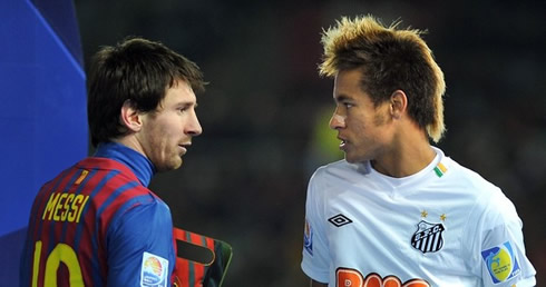 Lionel Messi And Neymar Starring At Each Other  In Barcelona Vs Santos