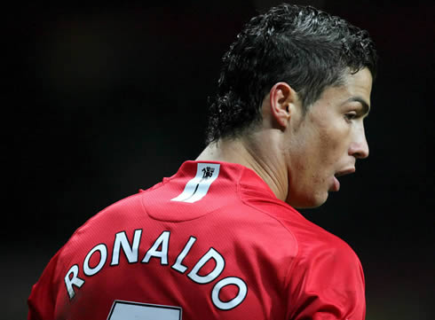 Cristiano Ronaldo in Manchester United, with his hair full of gel