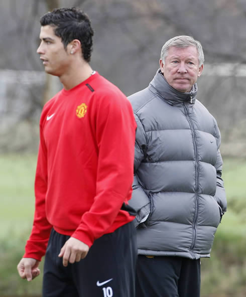 Cristiano Ronaldo and Sir Alex Ferguson in a Manchester United training session