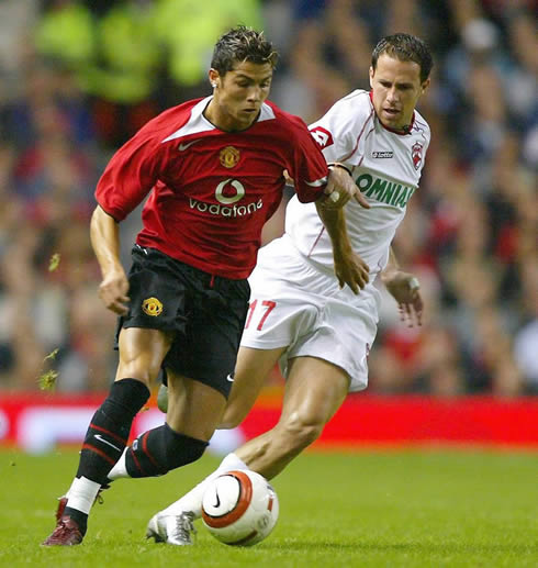 Cristiano Ronaldo playing for Manchester United in his first years at the club, 2003 and 2004