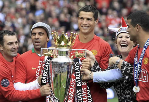 Cristiano Ronaldo and his family celebrating the Barclays English Premier League title at Old Trafford