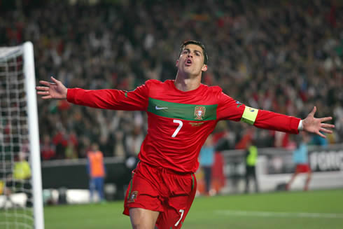 Cristiano Ronaldo opening his arms as he celebrates a goal for the Portugese National Team