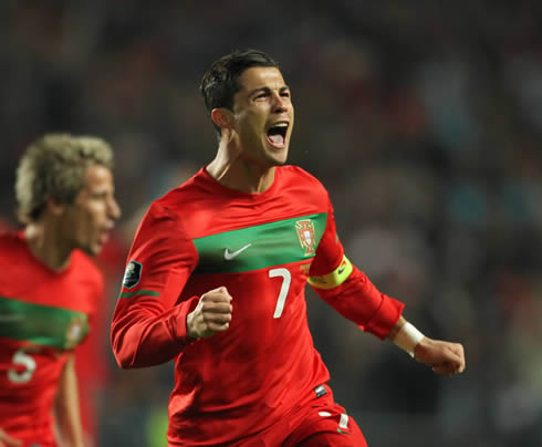 Cristiano Ronaldo joy after scoring a goal for Portugal in 2011