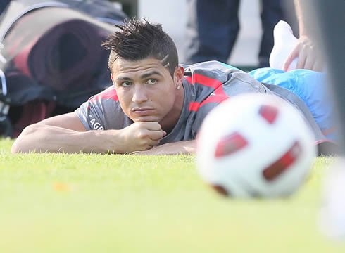 Cristiano Ronaldo thinking about life during a practice session for Portugal
