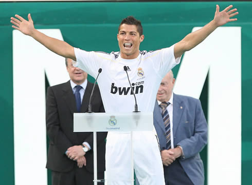 Cristiano Ronaldo screaming 'Hala Madrid', during his presentation day at Real Madrid, in the Santiago Bernabéu in 2009