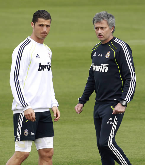 Cristiano Ronaldo and José Mourinho during a Real Madrid training session in 2012