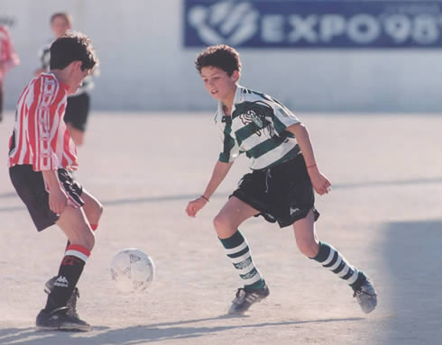 Cristiano Ronaldo playing for Sporting CP, while still young kid in the 90's