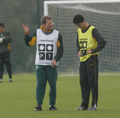 Cristiano Ronaldo in a practice session for Sporting CP in 2002-03, wearing a Reebok vest, with Laszlo Bolini