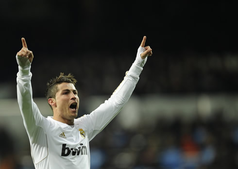Cristiano Ronaldo new celebration for Real Madrid in 2012, with his fingers pointing to the sky