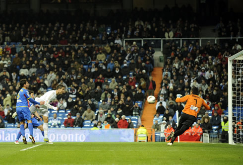 Cristiano Ronaldo putting Real Madrid in the lead against Levante, in a Spanish League game, in 2012