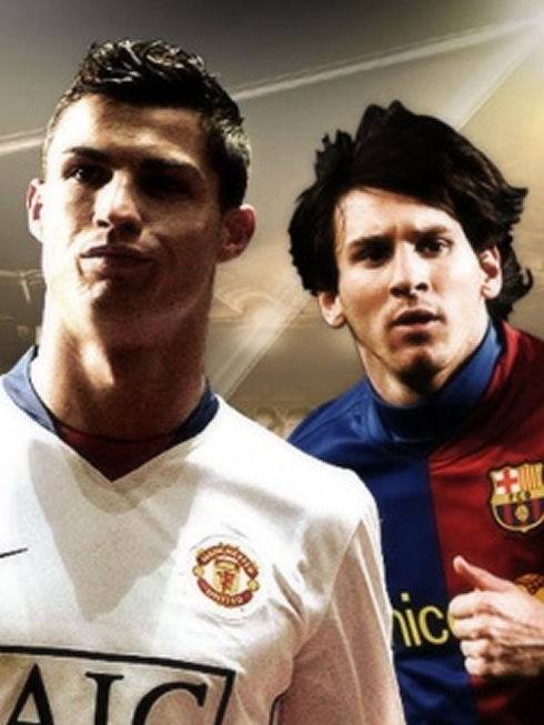 Cristiano Ronaldo and Lionel Messi poster, in Manchester United vs Barcelona poster
