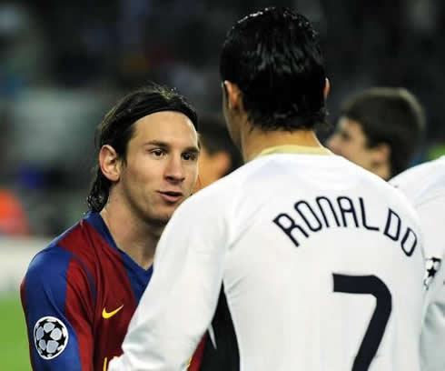 Cristiano Ronaldo greeting Lionel Messi at the teams entrance, in Manchester United vs Barcelona, for the UEFA Champions League